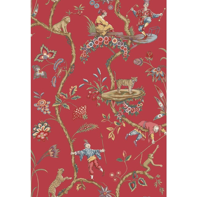 Red by Scalamandre Peel & Stick Wallpaper, Chinoise Exotique, Tomato For Sale