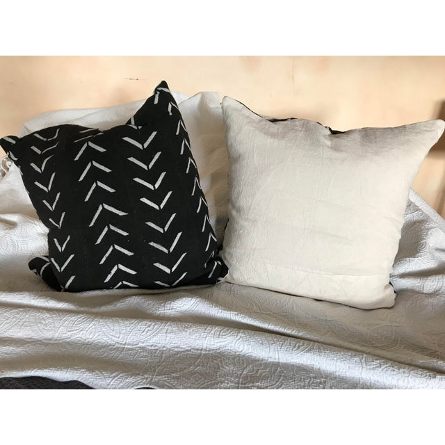 Black and White Handwoven African Pillows - a Pair For Sale - Image 4 of 6