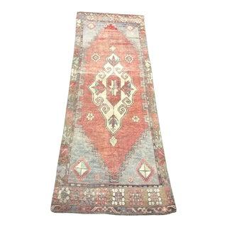"Vintage Pastel Color Turkish Anatolia Wool Rug-3'1x9'1"" For Sale"