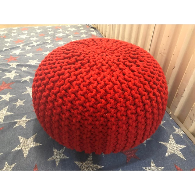 Swell Vintage Flame Red Retro Knitted Crochet Foot Stool Pouf Cjindustries Chair Design For Home Cjindustriesco