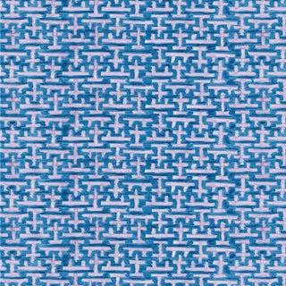 Ferran Ming Fret Fabric, Sample, Sapphire in Belgian Linen For Sale