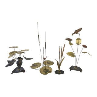 Vintage Botanical Brass Sculptures - Set of 4