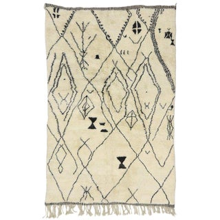 Contemporary Berber Tribal Design Moroccan Rug For Sale