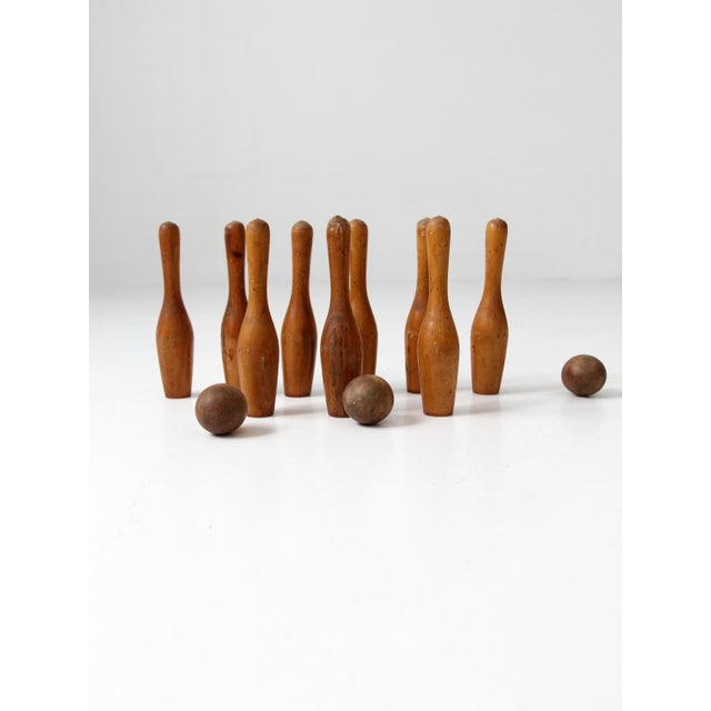 Rustic Antique Wood Bowling Game Set For Sale - Image 3 of 9