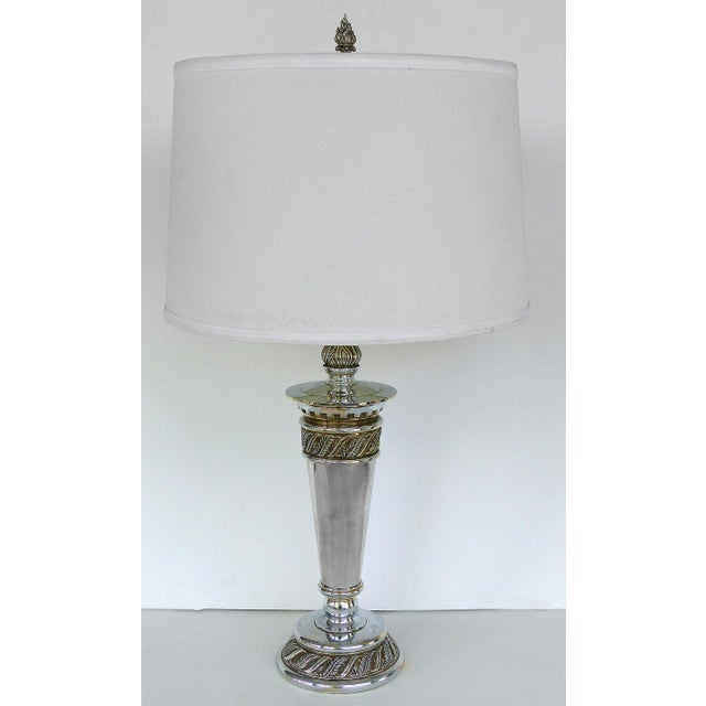 Stiffel Silvered Copper Torch Form Table Lamps - a Pair For Sale - Image 12 of 13