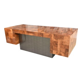 American Modern Burled Walnut and Pewter Cityscape Desk, Paul Evans For Sale