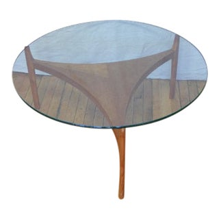 Mid-Century Danish Coffee Table With Teak Base and Round, Glass Top For Sale