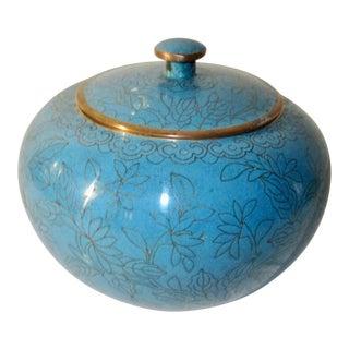 Kingfisher Blue Cloisonne Lidded Pot 1920's For Sale