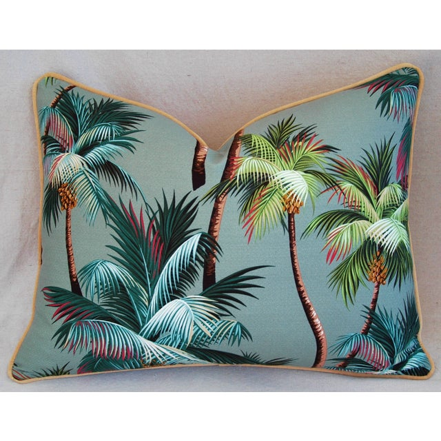 "Late 20th Century Oasis Palm Tree Barkcloth Feather/Down Pillows 24"" X 18"" - Pair For Sale - Image 5 of 11"
