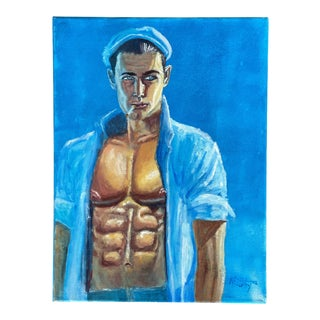 """""""Blue Sailor"""" Contemporary Figurative Male Oil Painting For Sale"""