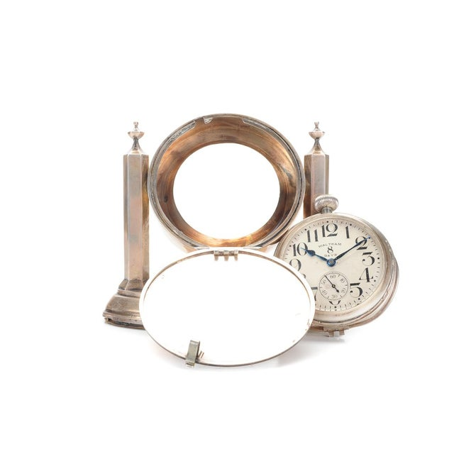 Waltham 8 Days Desk Clock With Sterling Stand - Image 5 of 9
