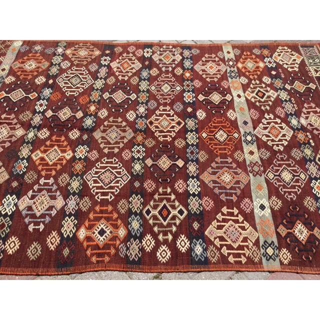 Vintage Gorgeous Embroidered Kilim Rug For Sale In Raleigh - Image 6 of 12