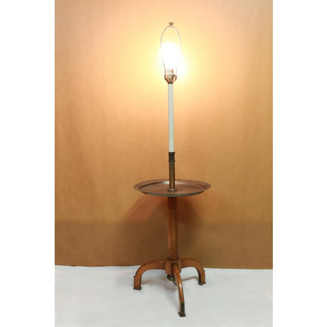 1960s Lightolier, Gerald Thurston Style Stiffel Brass and Atomic Age, Maple Tripod Base, Floor Lamp End Table With Shade For Sale - Image 5 of 12