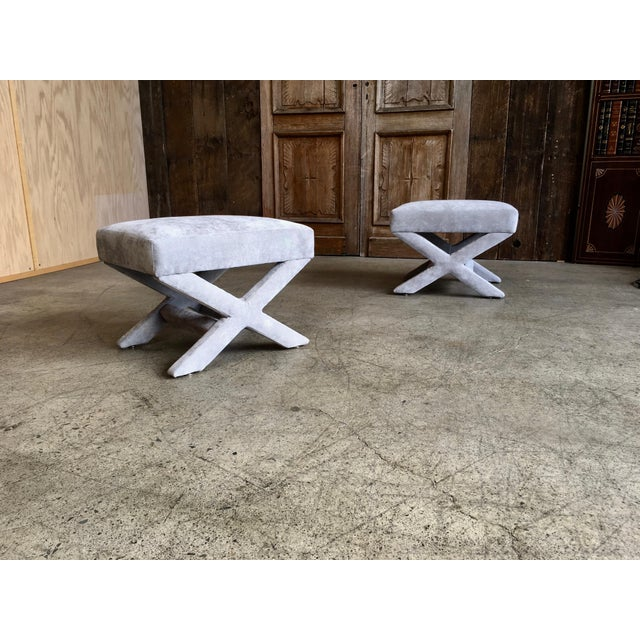 """Mid-Century Modern Mid-Century Modern """"X"""" Base Billy Baldwin Style Benches - a Pair For Sale - Image 3 of 10"""
