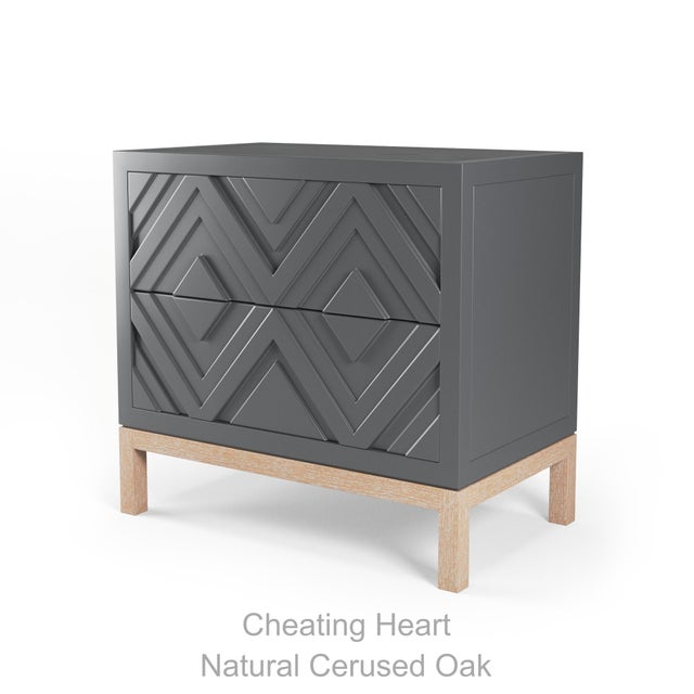 Not Yet Made - Made To Order Susana Side Table - Cheating Heart Charcoal, Natural Cerused Oak For Sale - Image 5 of 5