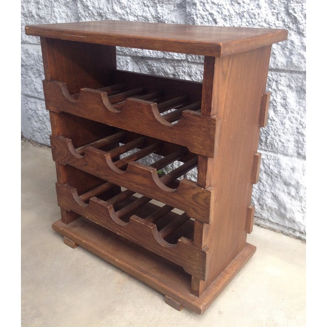 Primitive Vintage Wooden Wine Rack Side Table From Belgium For Sale - Image 3 of 3