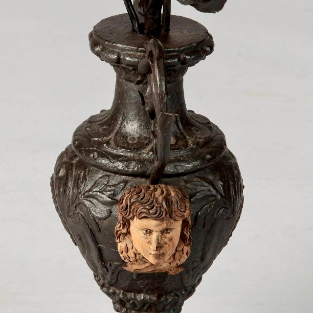 19th Century French Iron Urn with Flowers and Putti Faces - Image 5 of 7