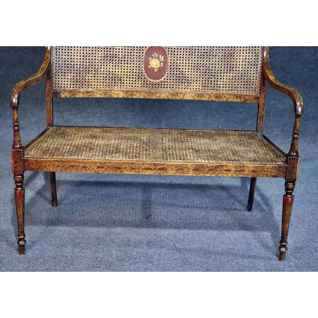 French Regency Style Paint Decorated Bench For Sale - Image 4 of 9