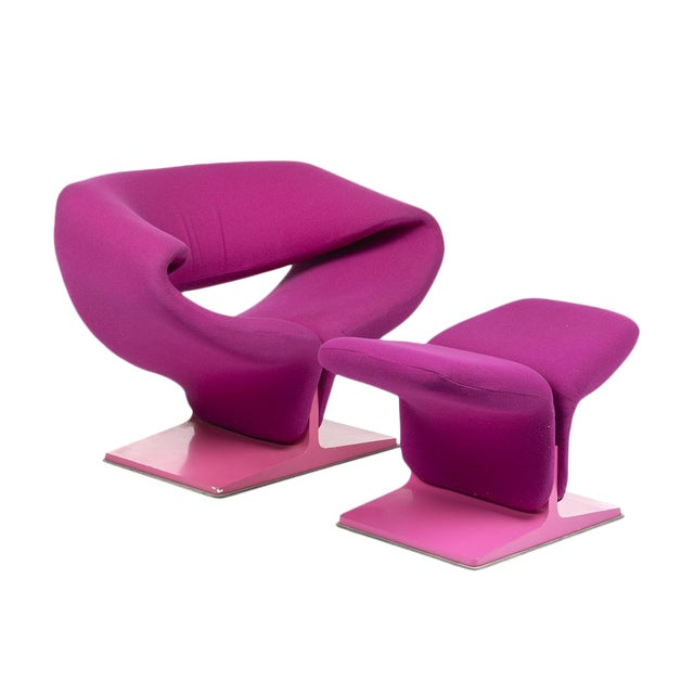 Pierre Pauline Pink Ribbon Chair and Ottoman For Sale