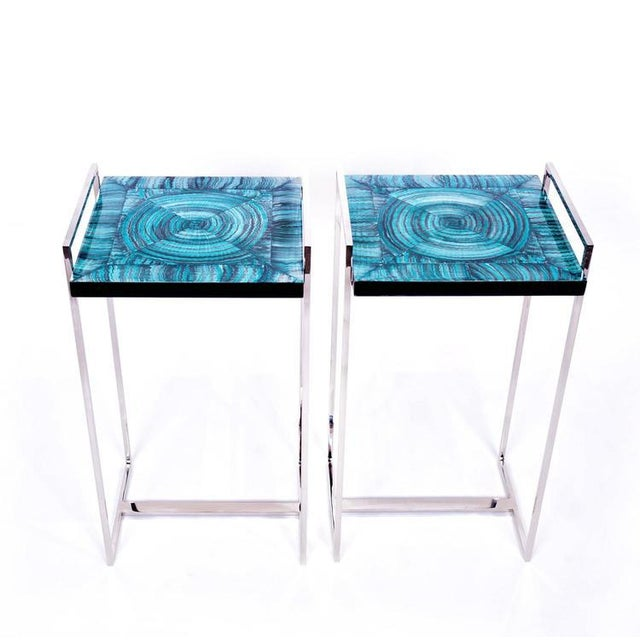 Faux Malachite Tables - Pair - Image 2 of 4