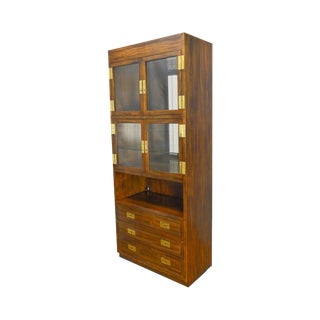 Henredon Scene 1 Collection Vintage Campaign Style Curio Bar Cabinet (B) For Sale