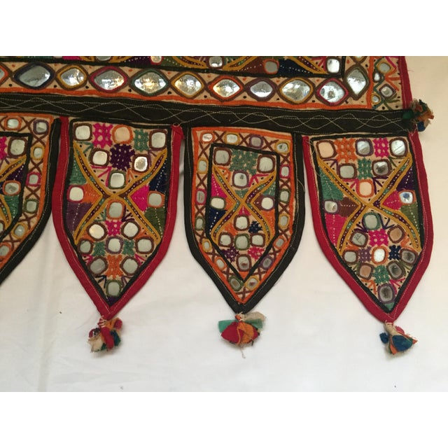 Red Indian Embroidered Mirror Valance For Sale - Image 8 of 10