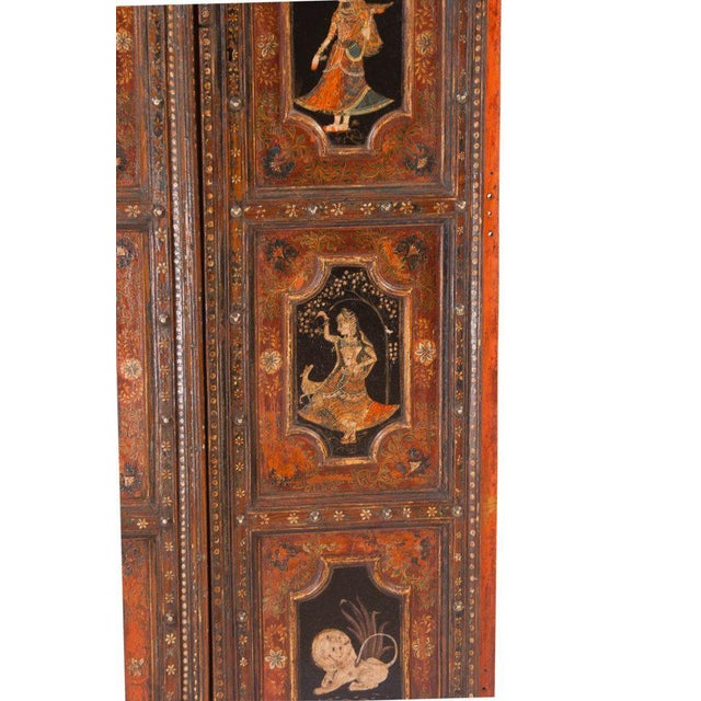 1830s Painted Indian Palace Doors - a Pair For Sale - Image 5 of 8