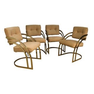 Mid Century Milo Baughman Style Cantilever Brass Dining Side Chairs For Sale