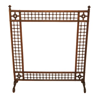 Antique Victorian Stick & Ball Oak Firescreen Frame For Sale