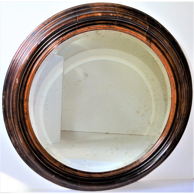 Brown Baker Furniture Round Distressed Solid Maple Mirror For Sale - Image 8 of 11