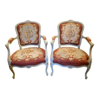 Antique Victorian Carved Needlepoint Armchairs - Pair For Sale