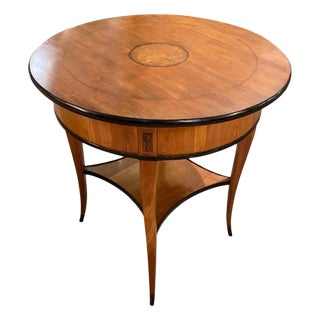 19th Century Biedermeier Round Side Table in Cherrywood For Sale