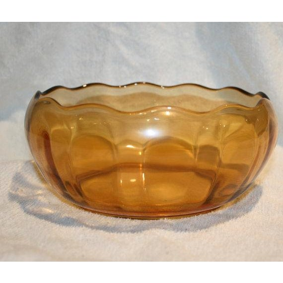 Retro Amber Glass Serving Bowl - Image 2 of 4
