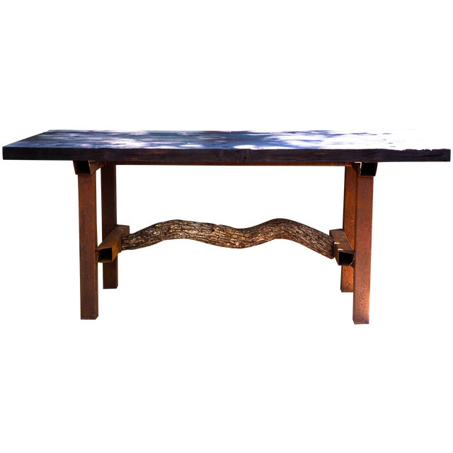 Wabi-Sabi Yakisugi Wood Dining Island Table Console For Sale