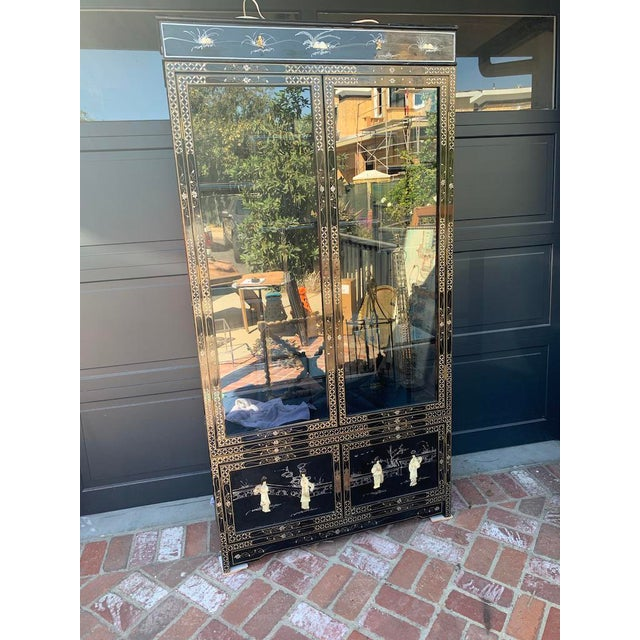 Vintage Black Lacquer Chinoiserie China Cabinet For Sale - Image 13 of 13