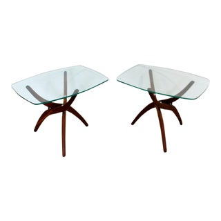 Mid Century Modern Forest Wilson Side End Tables Walnut & Glass 1960s - a Pair For Sale