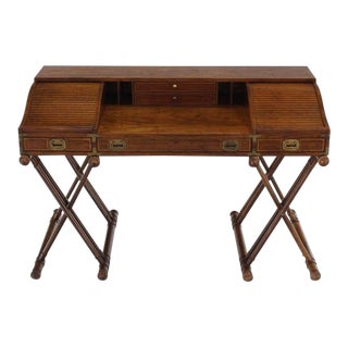 Mid Century Faux Bamboo Base Campaign Secretary Desk For Sale