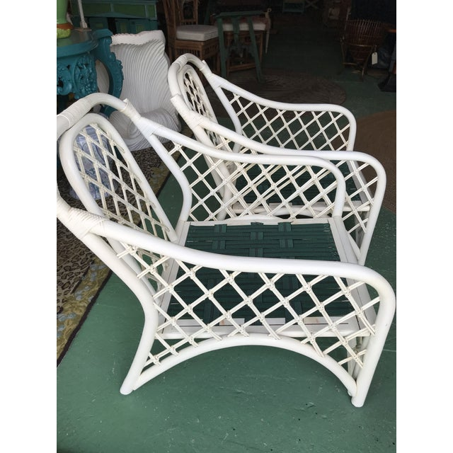 Wood Vintage Coastal Criss Cross Rattan Lounge Chairs-A Pair For Sale - Image 7 of 11