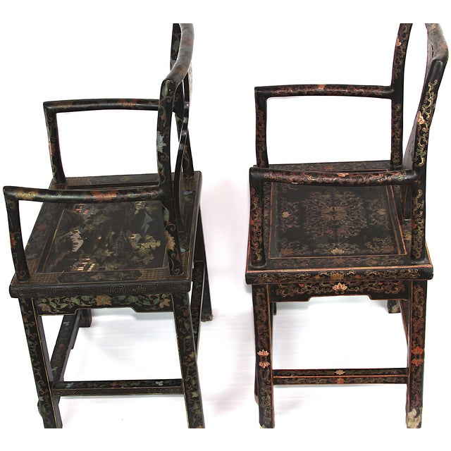 Antique Chinese Lacquered Armchairs - A Pair - Image 4 of 10