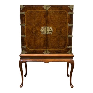 Vintage Oriental Style Walnut Television Cabinet For Sale