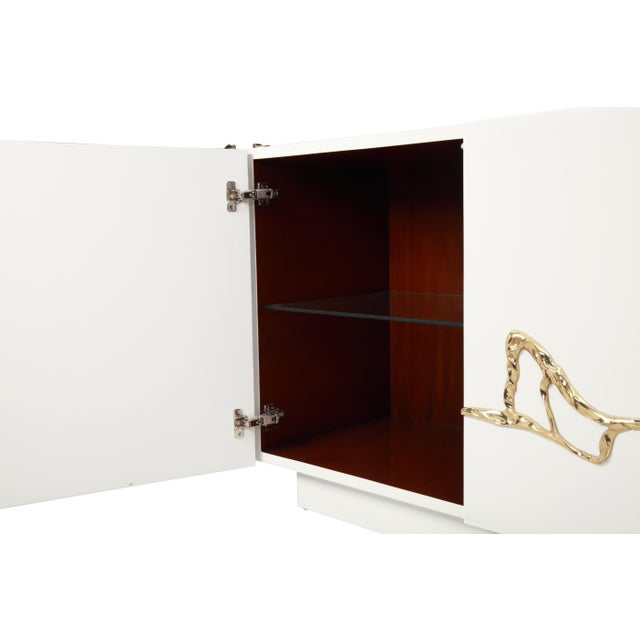 Sylvan S.F. Akar 4-Door Credenza in White Lacquered Resin & Lava Brass by Sylvan Sf For Sale - Image 4 of 6