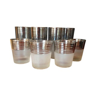 Mid-Century Silver Stripe Frosted Glasses - 8 For Sale