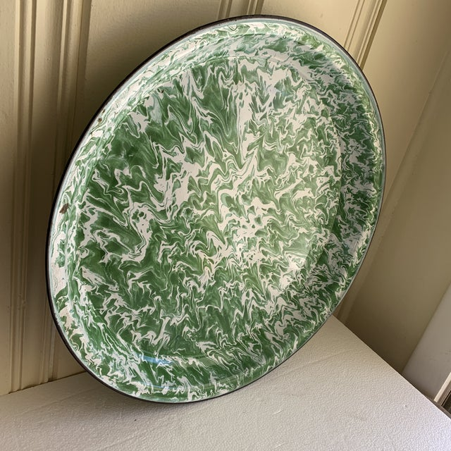 Large Enamelware Marbleized Metal Tray For Sale In Los Angeles - Image 6 of 8