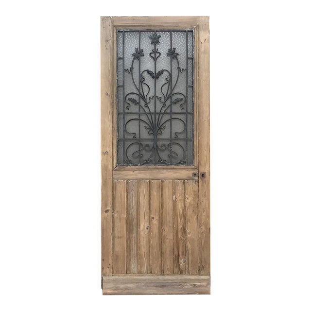 Art Nouveau Exterior Door, 19th Century French With Wrought Iron For Sale