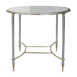 Mid-Century Modern Round Steel & Brass Glass Top Side Table For Sale