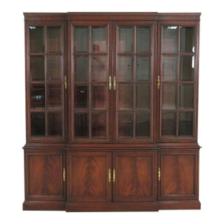 Beveled Glass Mahogany Breakfront China Cabinet