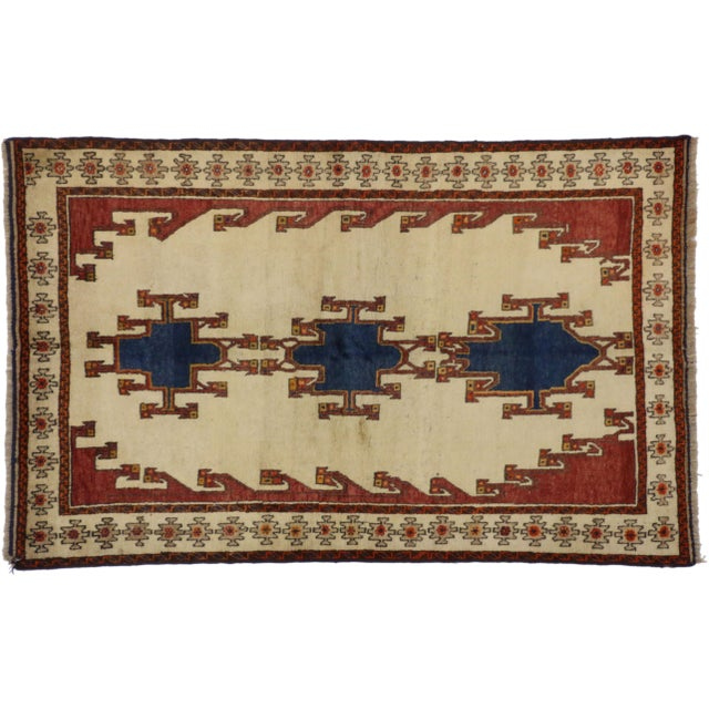 Vintage Shiraz Persian Rug with Modern Tribal Style For Sale In Dallas - Image 6 of 6