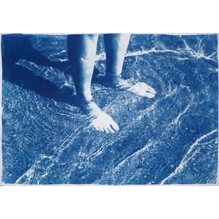 """2020 Unique Cyanotype Seascape of Water Reflection With Feet Figure, """"Greek Beach Bliss"""" For Sale"""