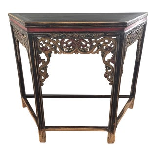 1990s Asian Sarreid Carved and Distressed Console For Sale