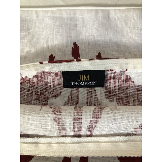 Pair of Red and White Ikat Pillows by Jim Thompson For Sale - Image 9 of 10